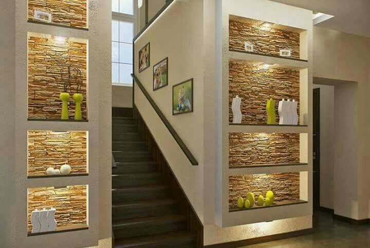 Pared escalera ideas para el hogar pinterest for Gradas de interiores