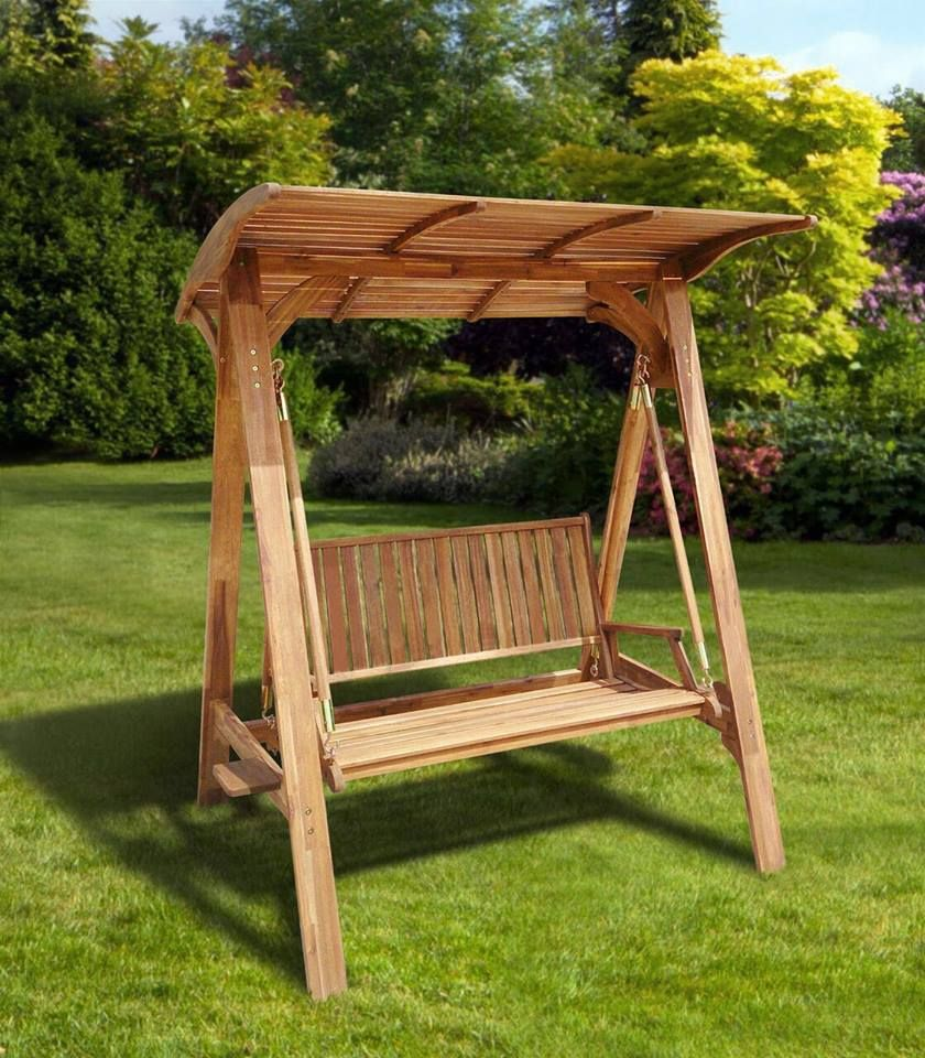 Columpio para exterior de madera de acacia materia viva - Columpios de exterior ...