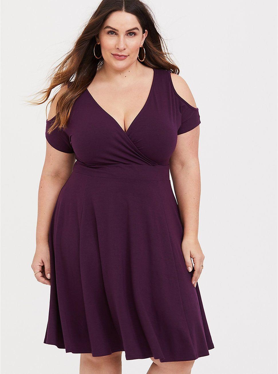 Purple Cold Shoulder Jersey Skater Dress Plus Size Wedding