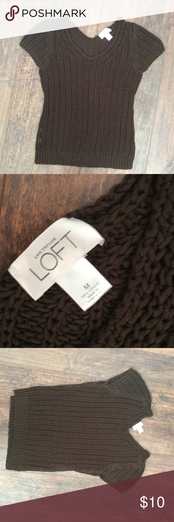 Loft cable knit brown sweater M See pics. True to size LOFT Sweaters V-Necks