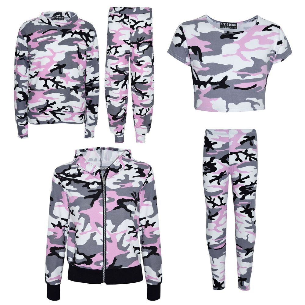 173460333ebb Details about Kids Girls Camouflage Print Crop Top Legging Jacket ...