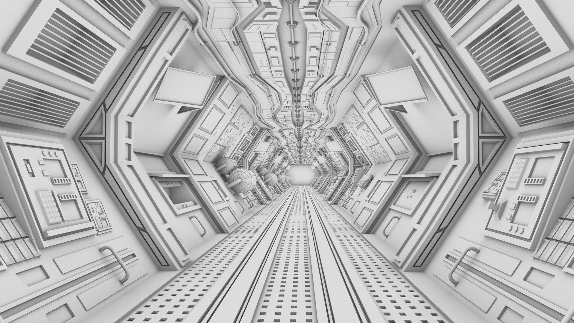 3d model spaceship corridor wip dystopiartist by for Deviantart 3d models