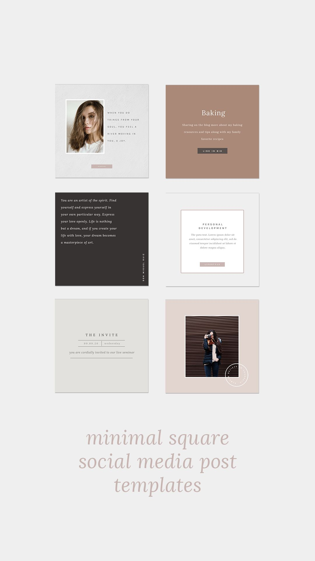 20 Square Minimal Social Media Design Templates For Instagram Facebook And Pinterest Easy To Use In In 2020 Social Media Social Media Template Social Media Graphics