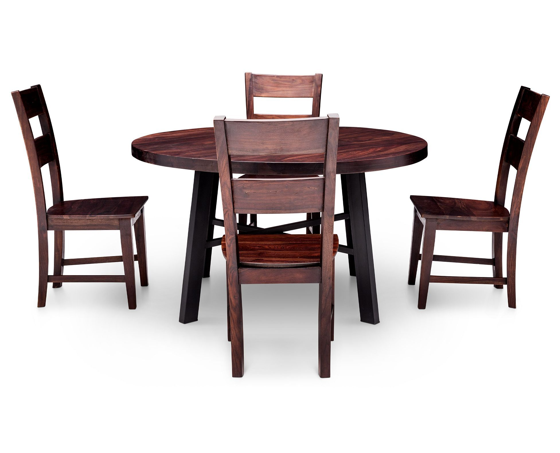 Nepali 5 Pc Round Dining Room Set Round Dining Room Table