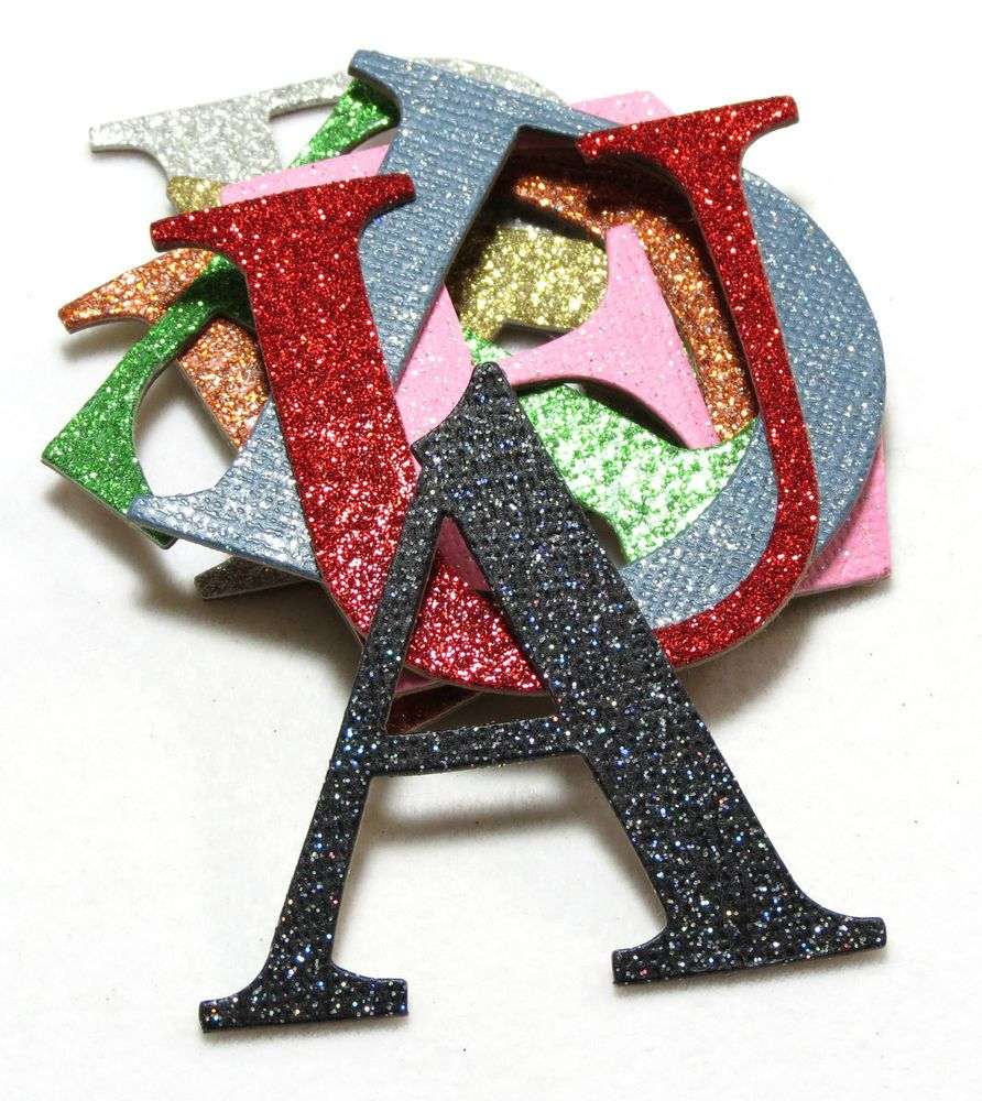 Custom Glitter Chipboard Alphabet Letters Numbers Colors - Custom glitter stickers
