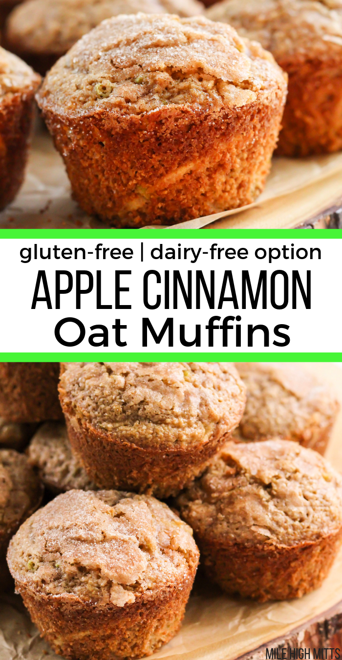 Apple Cinnamon Oat Muffins (gluten-free, dairy-free option)