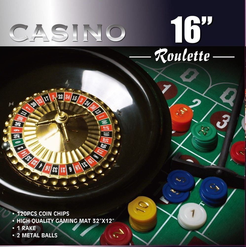 CASINO 16Inch Roulette Wheel Game Set with 120 chips Felt