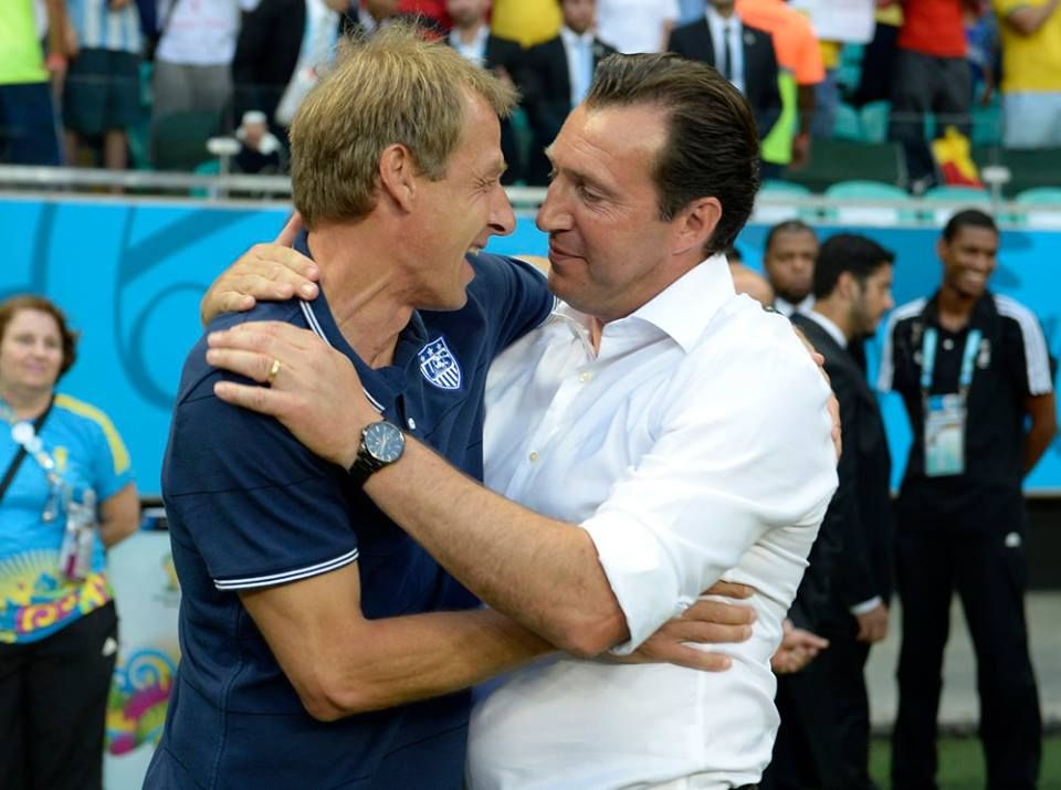 Jurgen Klinsmann Trainer Usa And Marc Wilmots Trainer Belgium Congratulations Are In Order For Both Teams Belgium Usa World Cup Brazil July 1st 20