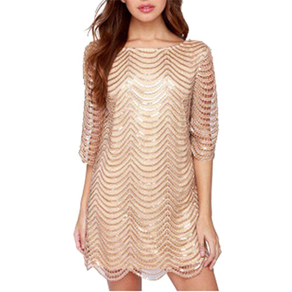 LAEMILIA Damen Kleid Clubwear mit Pailletten Aushöhlen Rückenfrei ...