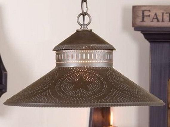 PRIMITIVE Punched Tin Hanging Light Fixture by savingshepherd ...