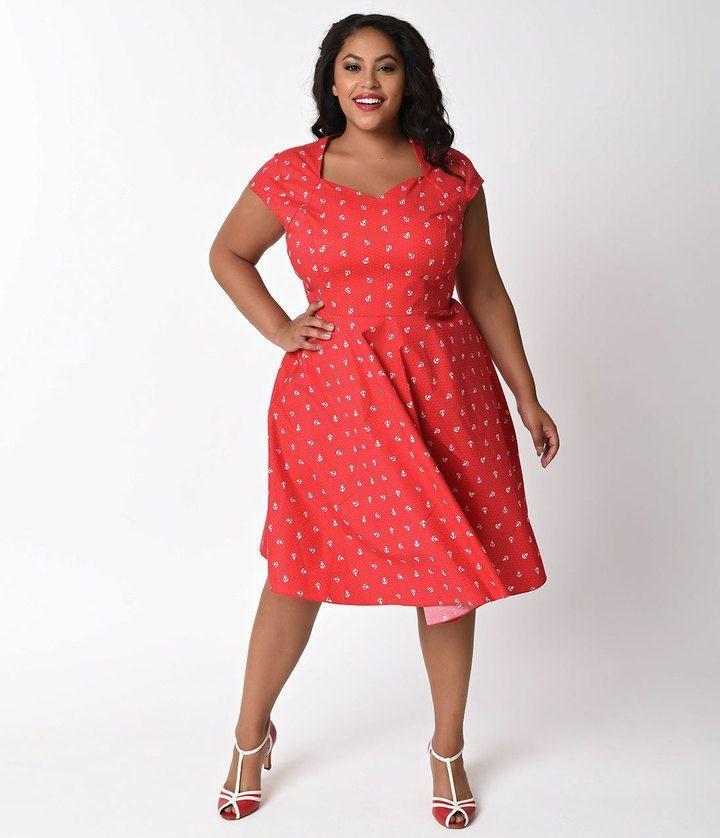 Unique Vintage 1950s Style Plus Size Red Anchor Swing Dress