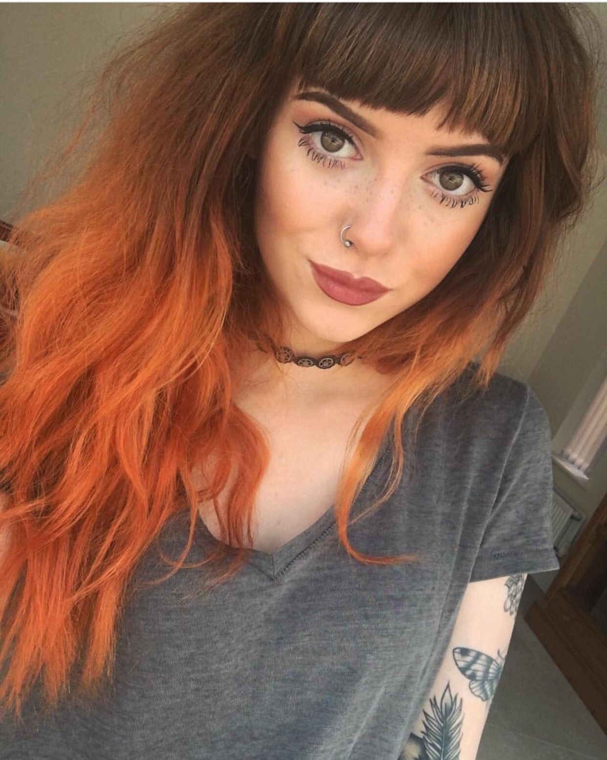 Brown to Red Ombré … Hair Pinterest