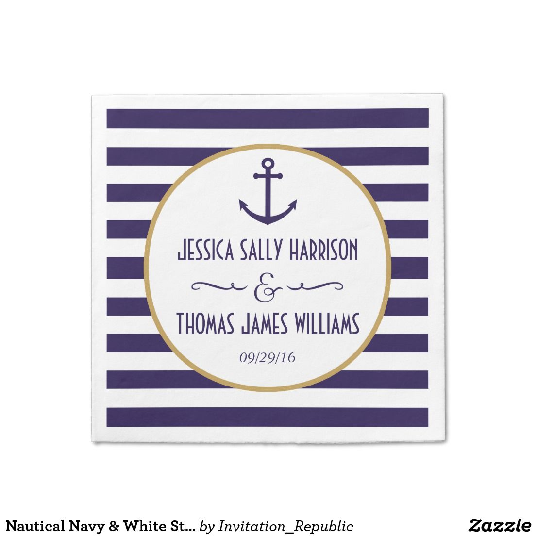 Nautical Navy White Stripe Anchor Wedding Paper Napkin Wedding