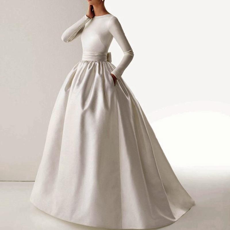 New 2015 vintage elegant boat neck long sleeve sash bow for Boat neck long sleeve wedding dress