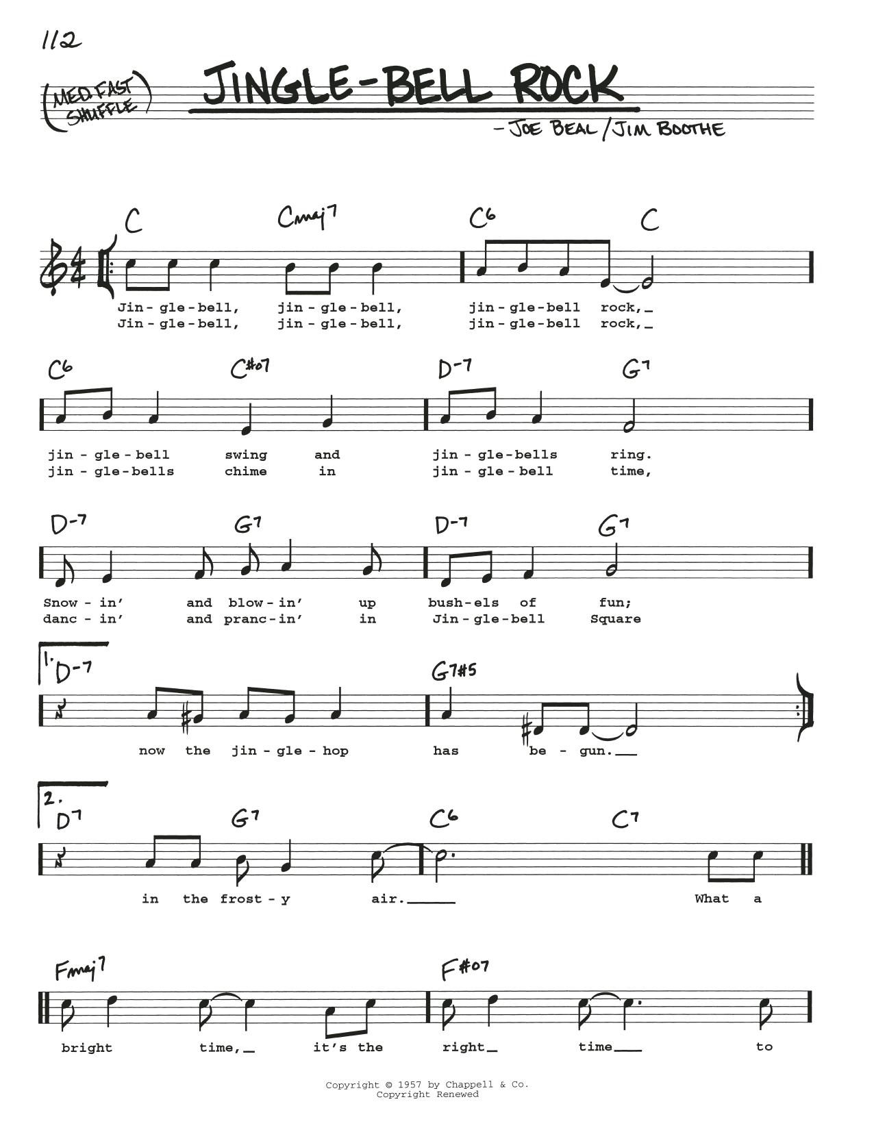 Jingle Bell Rock Partituras Jim Boothe Real Book Línea De Melodía Letras Y Acordes Letras Y Acordes Partituras Partituras Digitales