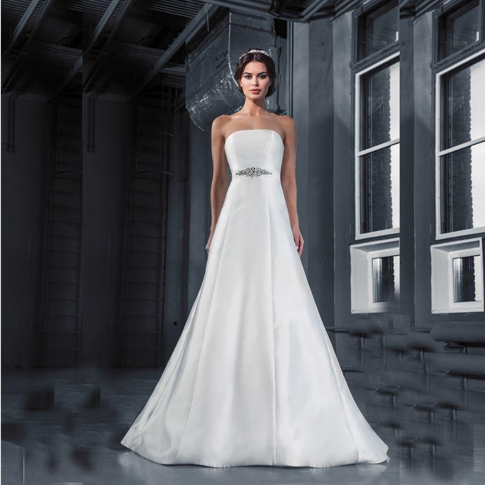 Simple Plain Satin Wedding Dress | Fashideas.com | Simple Wedding ...