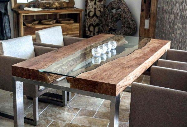 Designtisch Mit Kunstvoller Glasplatte Der Tischonkel Esstische Design Tisch Esstisch Design Holzesstische