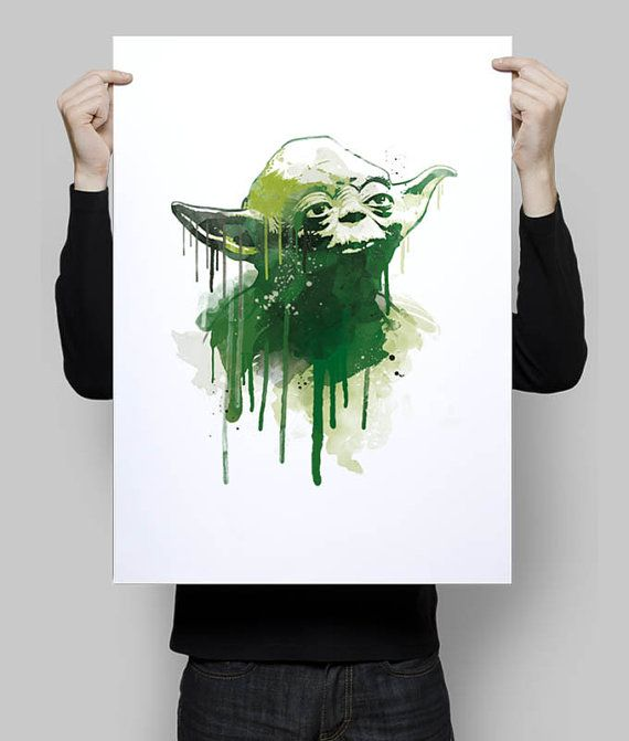 Watercolor grandmaster yoda star wars alternative poster scifi nerd ...
