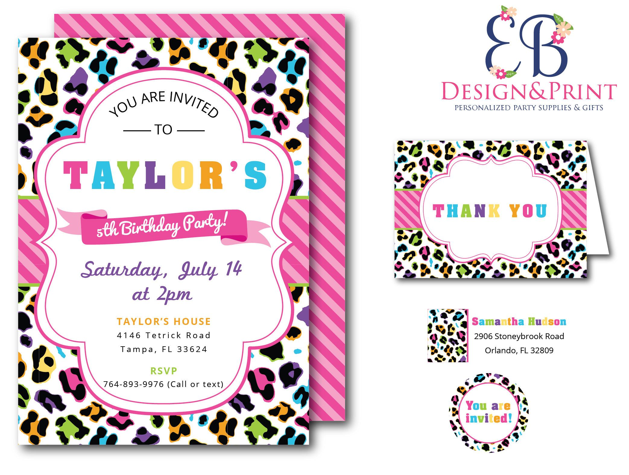 Rainbow Leopard Birthday Party Invitations Invites Thank You Cards