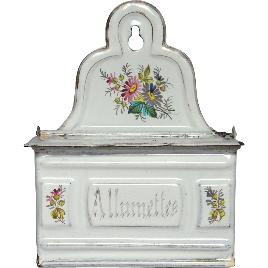 Fabulously Floral French Enamel Match Holder, early 1900s
