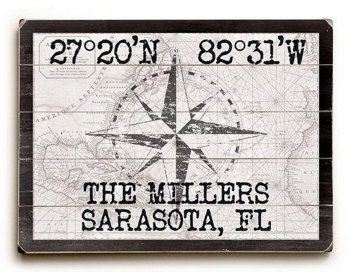 Photo of Custom Latitude Nautical Sign – White Vintage Chart