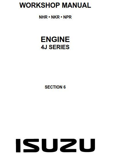 Isuzu Engine (4J Series) Workshop Manual (LG4J-WE-9491)