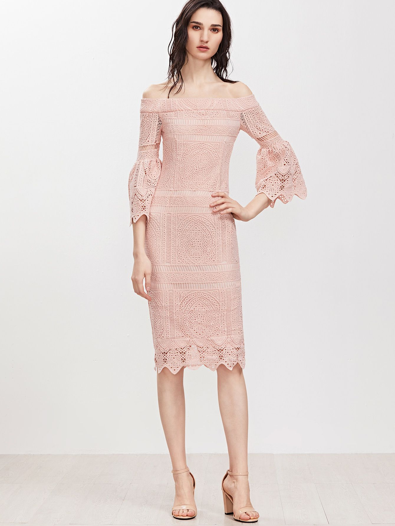 Shop Pink f The Shoulder Bell Sleeve Embroidered Crochet Overlay Dress online SheIn offers Pink f The Shoulder Bell Sleeve Embroidered Crochet Overlay