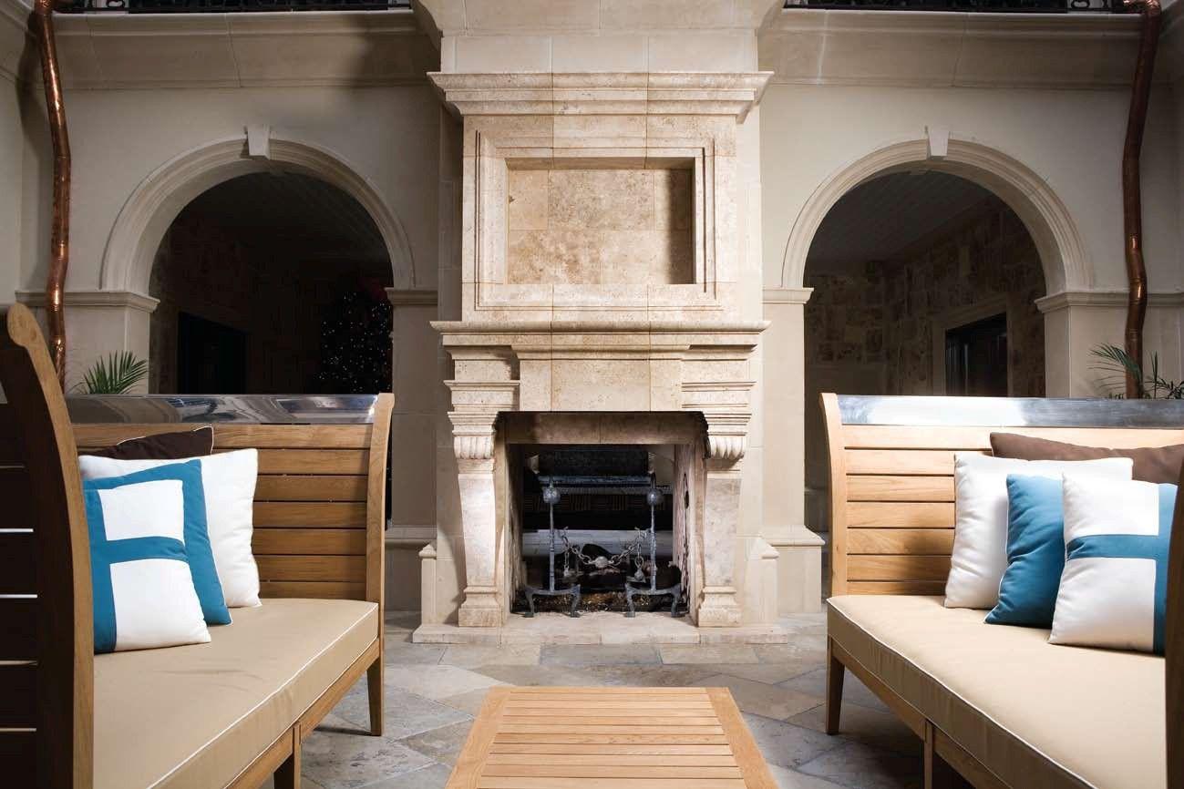 Natural Limestone Fireplace