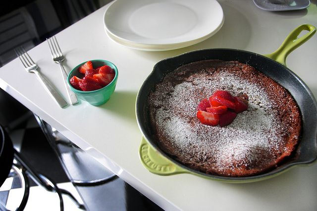 chocolate dutch baby by shutterbean, -I probably wouldn't say I LOVED this recipe, but I did like it and it only took me about 5 or less minutes of prep and 10 minutes to bake (my oven runs super hot).