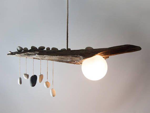 Driftwood Lamp with Quartz Pebble Pendants Globe Glass Shade