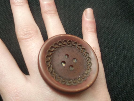 Burgundy Vintage Button Adjustable Ring by gabriellesgifts on Etsy, £5.00