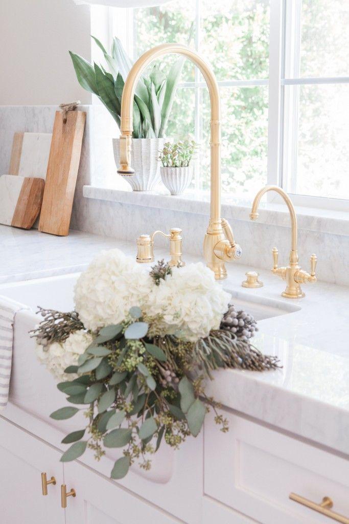 Pretty Gold and White Kitchen by Nicole Davis Interiors | Gold ...
