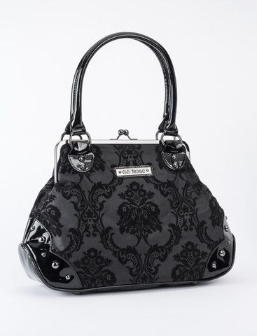 This original and beautiful shiny midnight black colored handbag features a flocked damask gothic, victorian style pattern, vinyl gunmetal studded bottom with feet, kisslock closure, vinyl handles and