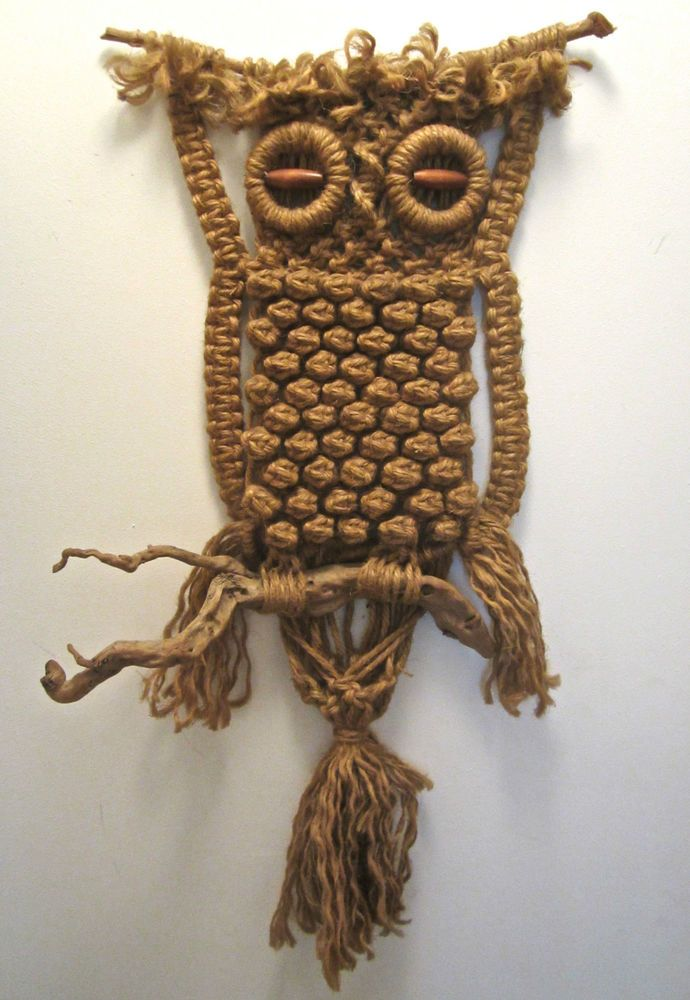 Vintage Owl Jute Macrame Wall Hanging 70's Retro Hand Made ...