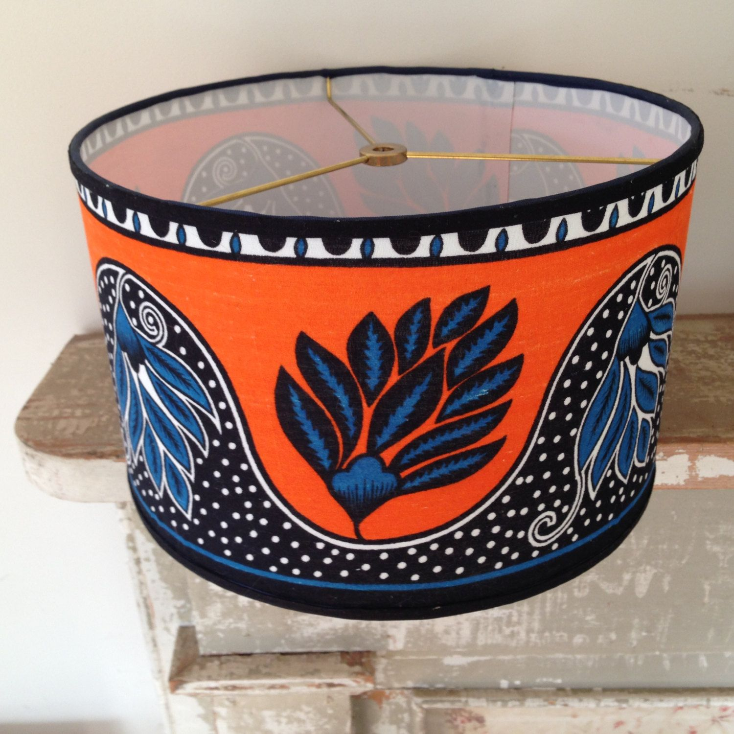 African Drum Lamp Shade Lampshade In Fabric From Kenya Orange And