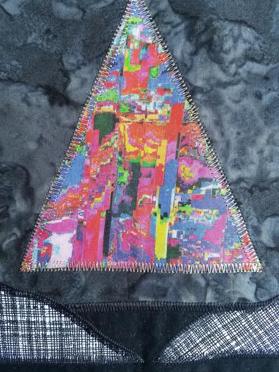 Glitchy Pyramid Back Patch - Psychedelic Fabric Collage - Patchwork