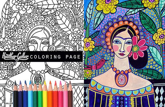 50% off Frida Kahlo coloring page art, Mexican Folk Art coloring book, adult coloring book, coloring pages, adult coloring pages