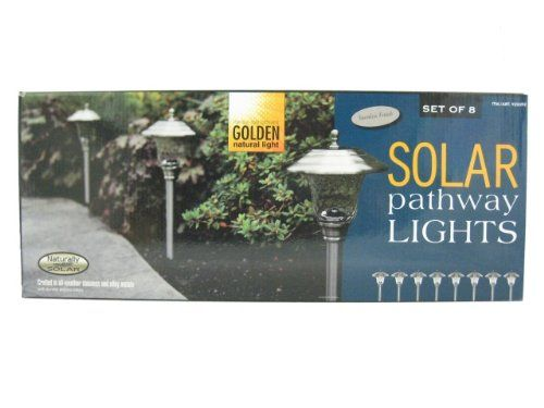Naturally Solar Set Of 8 Solar Pathway Lights Stainless