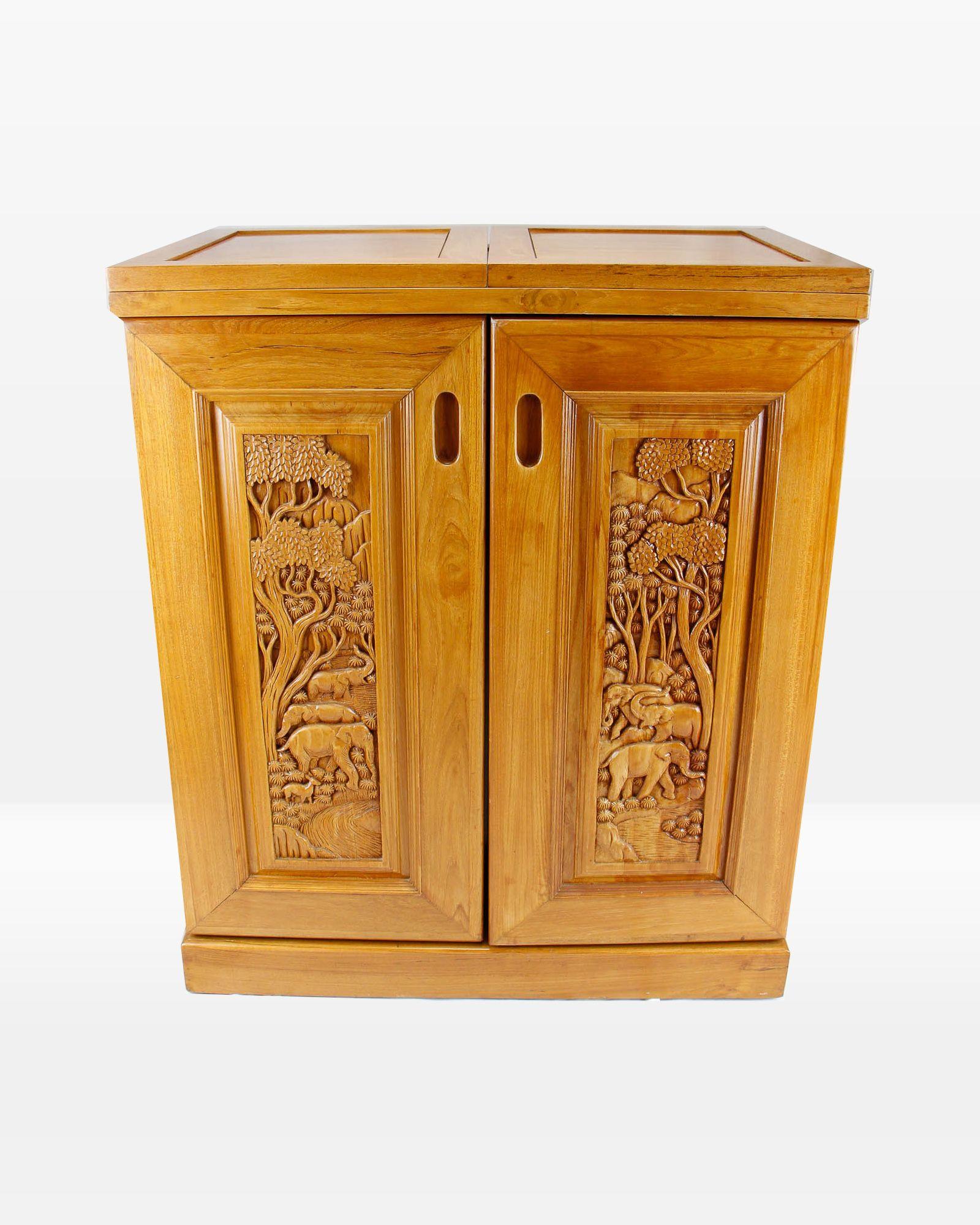 Hand Carved Solid Teak Bar Cabinet