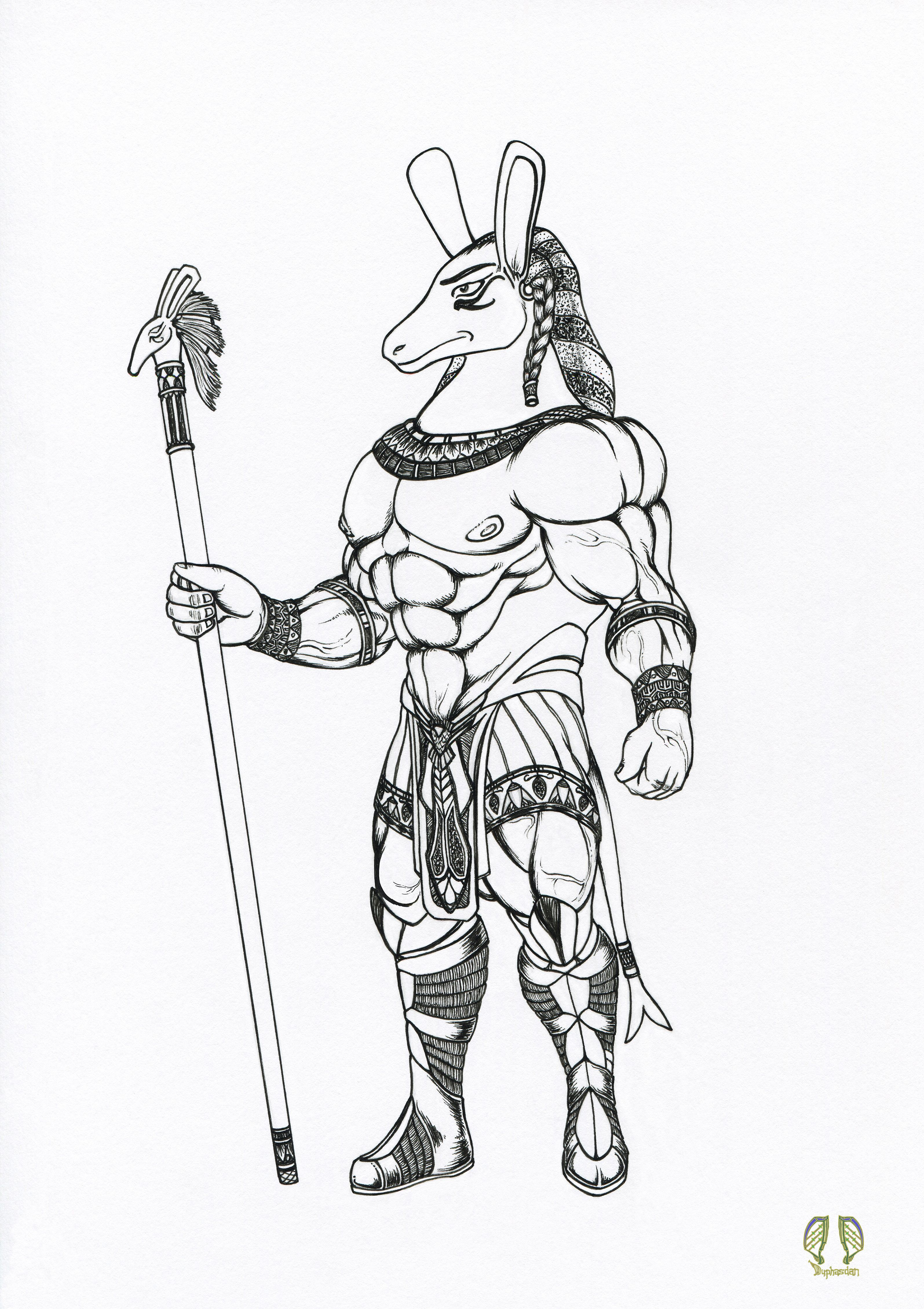 This Is An Ink Line Art Drawing Of The Egyptian God Set