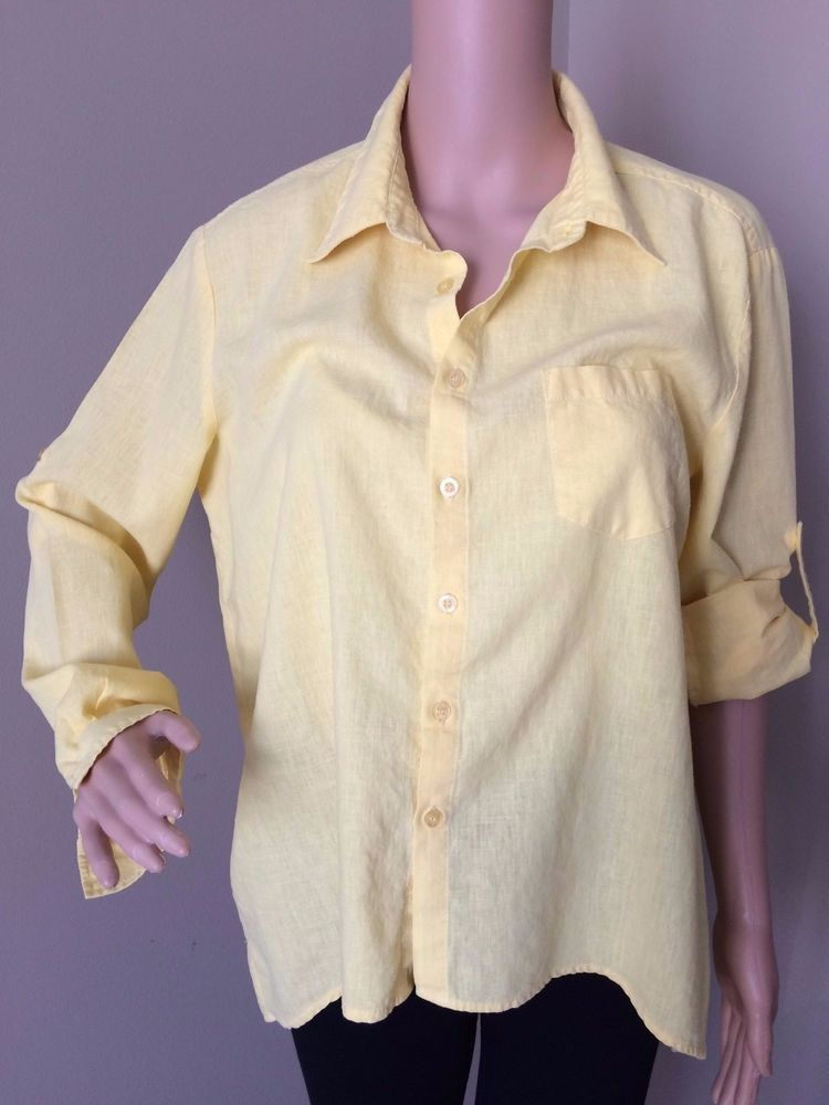c885ea9de62690 Pure Amici - Women s Button Up Linen Shirt - Hi Lo Hem Roll Tab Sleeve -  Medium  PureAmici  ButtonDownShirt