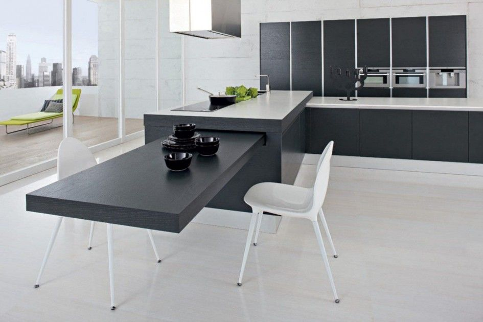 Splendid Kitchen City Island With Pull Out Table And Modern White Dining Chairs Also Low Ceiling Isla Modern Kitchen Island Modern Kitchen Kitchen Island Table
