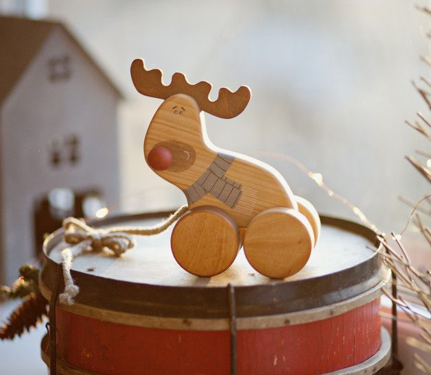 Wooden Reindeer Pull Toy  After having a long summer holiday Rudolph is ready to get busy! He cannot wait until the jolly elves load its sleigh and it can visit all of you together with Santa...
