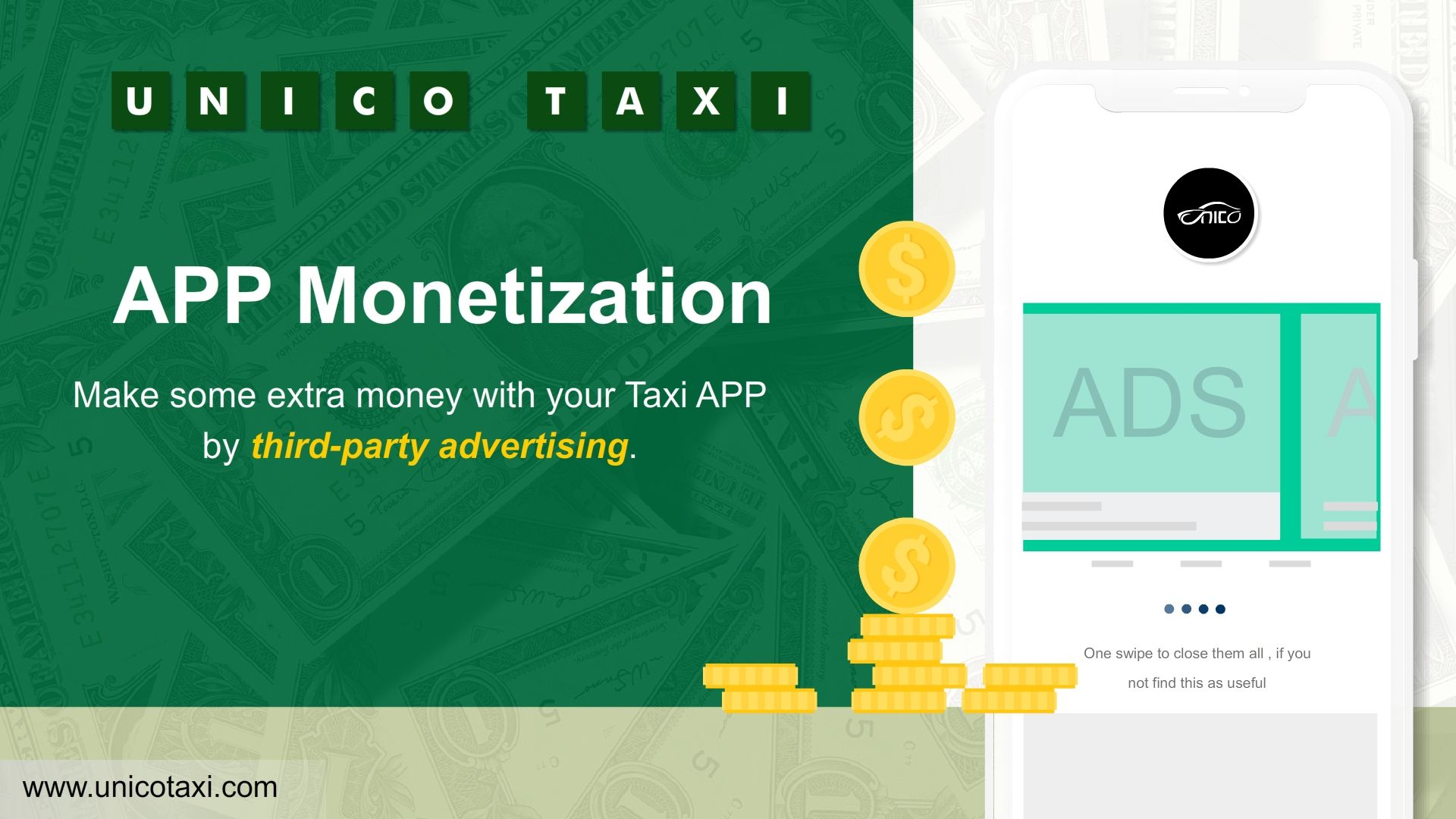 Make some extra money with your Taxi APP by third-party advertising