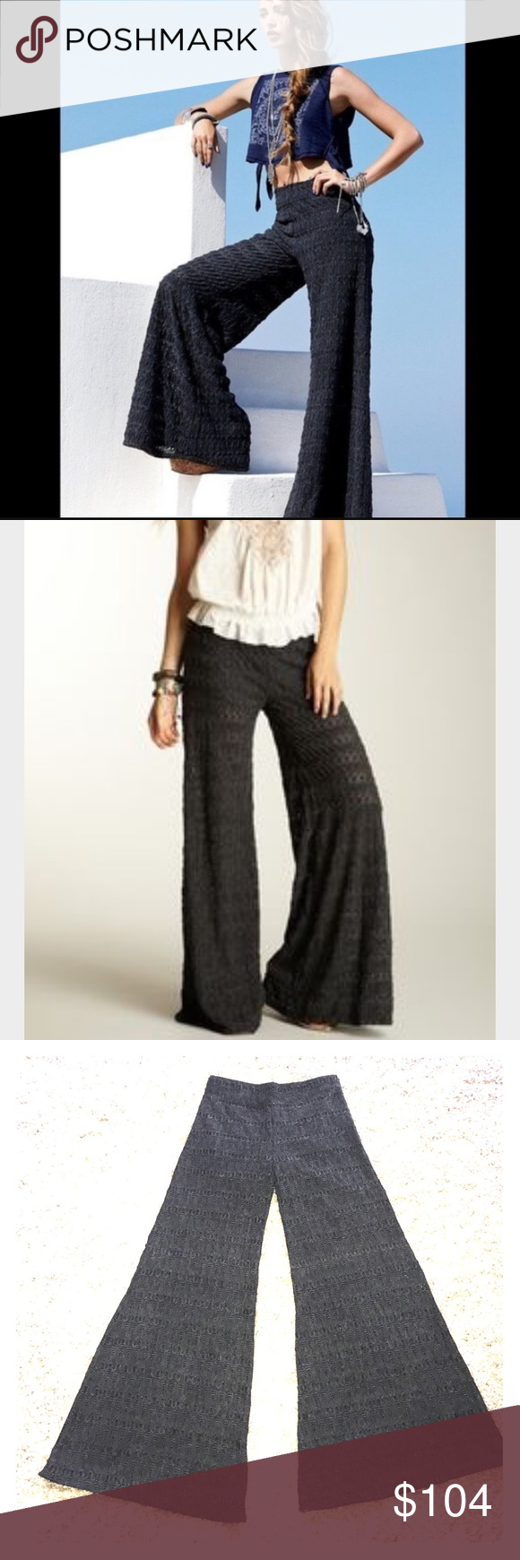 "🦋 FREE PEOPLE PANTS Like new wide flare lace pants size-0  in dark gray color, has little under shorts.  Waist-14"" inseam-31"" Free People Pants"