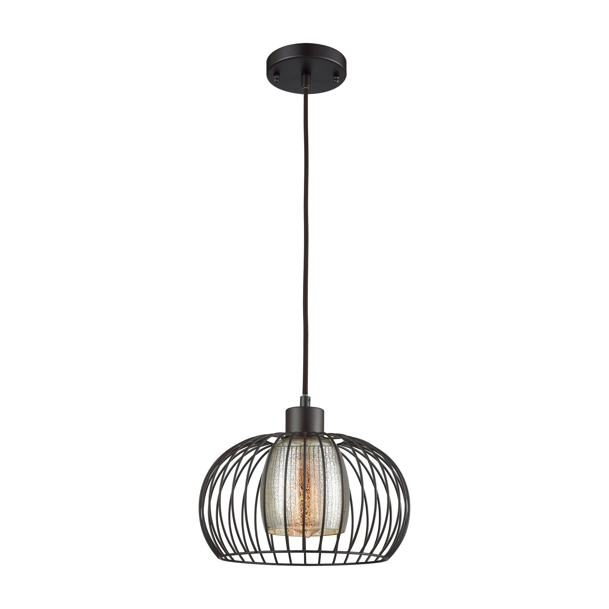 Yardley 1 Light Pendant In Oil Rurbbed Bronze With Mercury