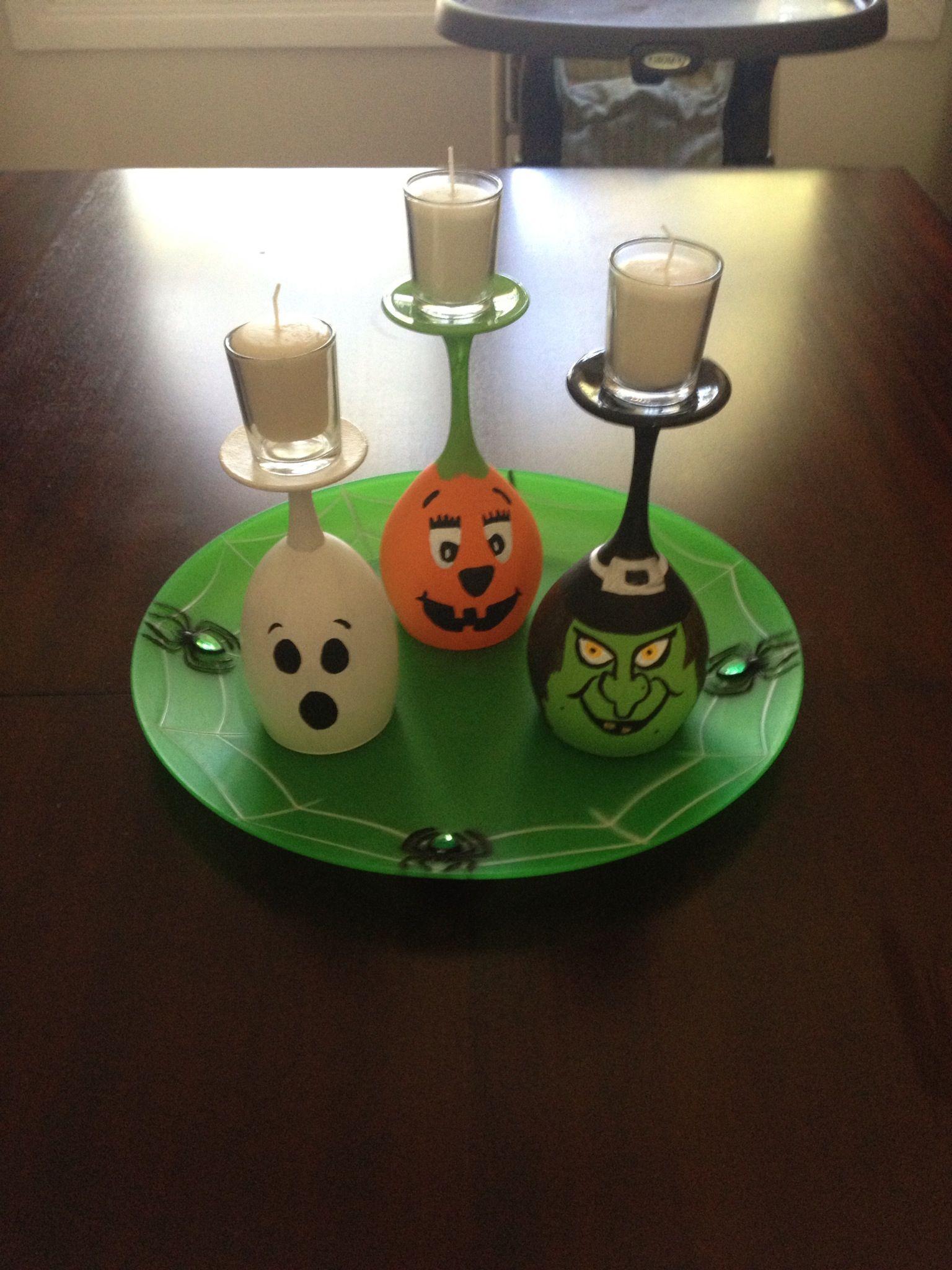 Halloween decor upside down wine glasses Holidays