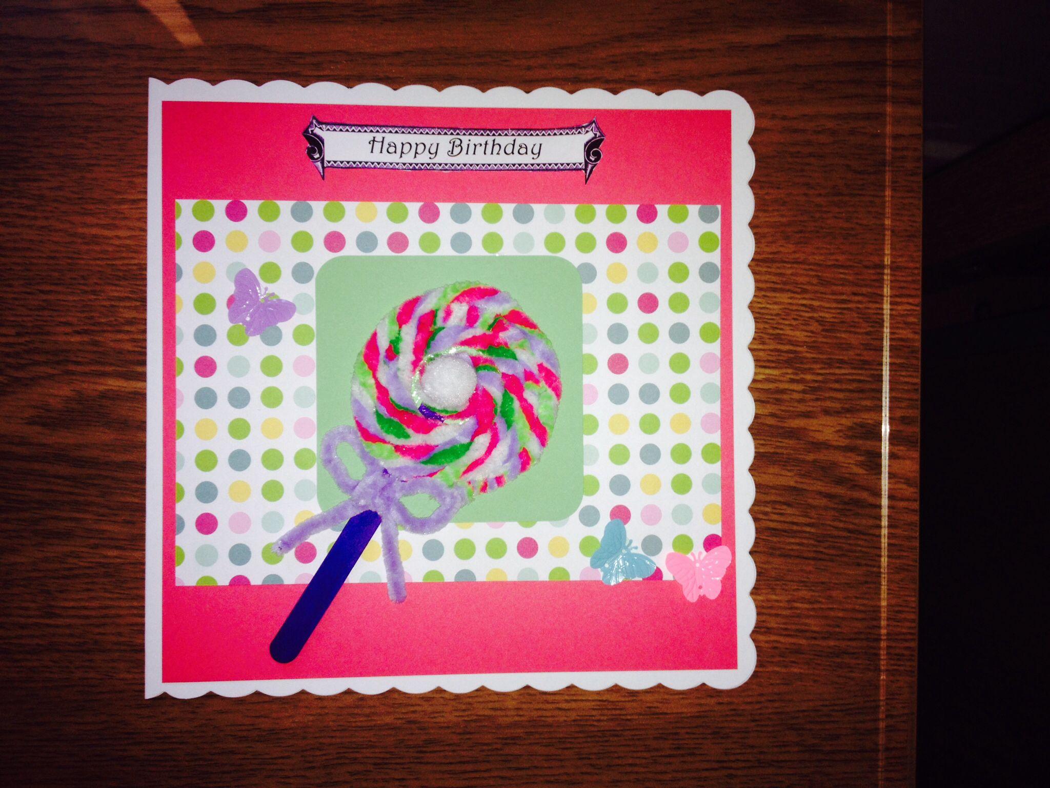 Handmade Birthday Card With A Nice Loly A My Creative Cards