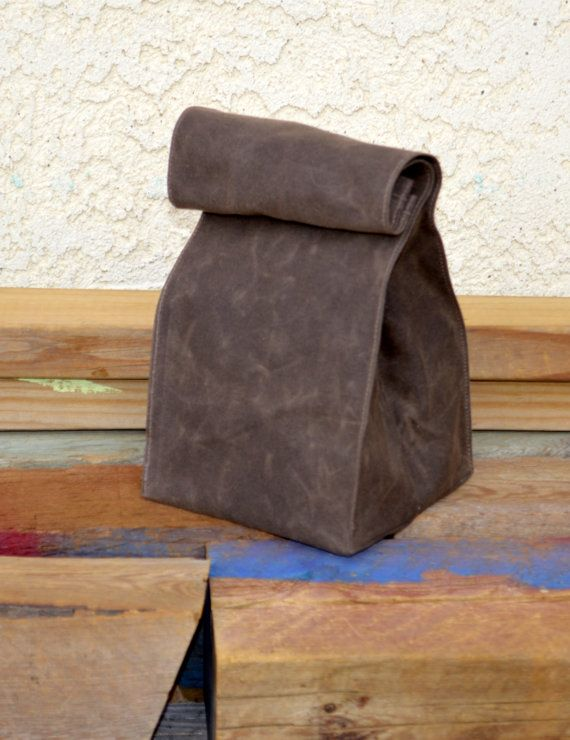 The Petite Waxed Canvas Lunch Bag Lunch Tote by Zakken on Etsy, $25.00