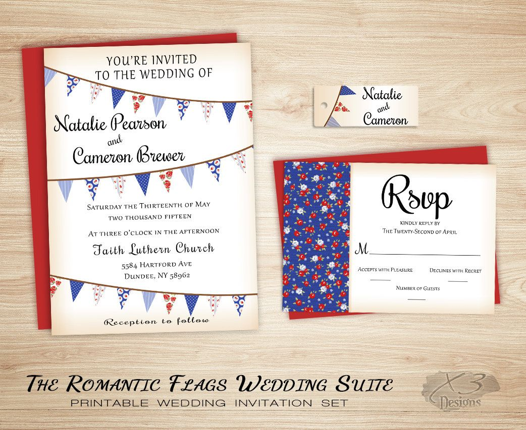 Rustic Country Barn Wedding Invitation Suite Red And Blue
